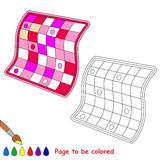 Pink quilt cartoon. Page to be colored. Royalty Free Stock Photography