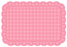 Pink Quilted Eyelet Lace Place Mat Stock Photos
