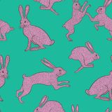 Pink quirky rabbit repeat pattern on plain green/blue background Stock Images