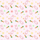 Pink Rabbit cute with carrot scatter pattern concept using for k stock illustration