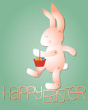 Pink Rabbit with Easter Eggs Royalty Free Stock Photo