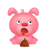 Pink rabbit emoji character with bunch of poop Royalty Free Stock Photo