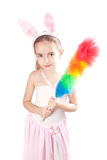 Pink rabbit-girl Royalty Free Stock Image