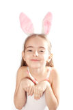 Pink rabbit-girl Royalty Free Stock Images