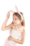 Pink rabbit-girl Stock Photos