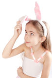Pink rabbit-girl Stock Image