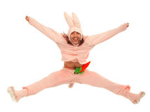 Pink rabbit jumping Royalty Free Stock Photography