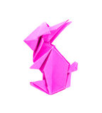 A pink rabbit origami from paper. On white background Royalty Free Stock Image