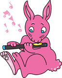 Pink rabbit playing a flute. A cartoon pink rabbit playing a flute Royalty Free Stock Photo
