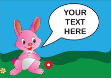 Pink Rabbit. Vector illustration of a pink rabbit with editable speech bubble Stock Photo