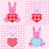 Pink rabbits cards Royalty Free Stock Photo