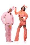 Pink rabbits having fun Stock Images