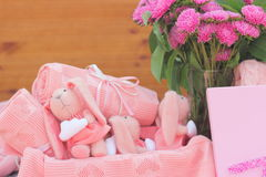 Pink rabbits Stock Image