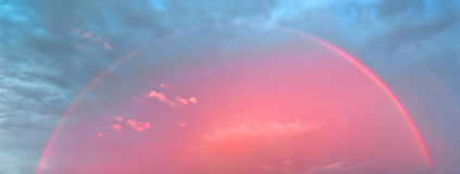 Pink rainbow stock image