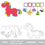 Pink rainbow horse toy. Task and answer. Pink rainbow horse toy. What is the word hidden. Task and answer. Page to be colored. Hidden word to be colored. Find Royalty Free Stock Photography