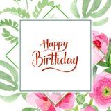Pink ranunculus floral botanical flowers. Watercolor background illustration set. Frame border ornament square. Pink ranunculus floral botanical flowers. Wild vector illustration