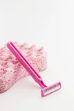 Pink razor blade Royalty Free Stock Photography