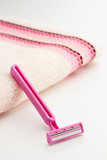 Pink razor blade Stock Photography