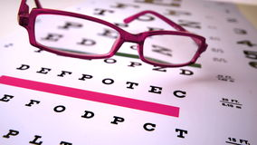 Pink reading glasses falling onto eye test Royalty Free Stock Photos
