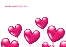 Pink  realistic 3d   balloons  in  shape  of  hearts. Pink  realistic 3d   balloons  in  shape  of  hearts  for  Valentines day  greeting card  isolated on Stock Images