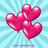 Pink    balloons  in  shape  of  hearts  for  Valentines day  c. Pink  realistic 3d   balloons  in  shape  of  hearts  for  Valentines day  greeting card Stock Photos