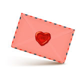 Pink realistic envelope with wax seal in heart shape, love letter illustration Stock Photography