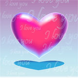 Pink realistic heart with text. Pink heart on blue - violet background Royalty Free Stock Photo