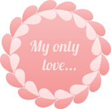 Pink realistic paper hearts circle vector frame Royalty Free Stock Photography