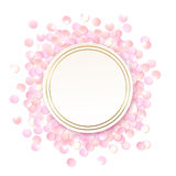 Pink realistic round confetti frame, design template for gift, certificate, voucher, AD brochure and so. Colorful vector illustration isolated on white stock illustration