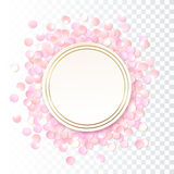 Pink realistic round confetti frame, design template for gift, certificate, voucher, AD brochure and so. Stock Photo