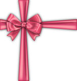 Pink Realistic Satin Ribbon and Bow Isolated Royalty Free Stock Image
