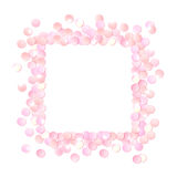 Pink realistic square confetti frame, design template for gift, certificate, voucher, AD brochure and so. Stock Photography