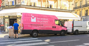 Pink Recycling Company Truck In Paris, France Royalty Free Stock Photos