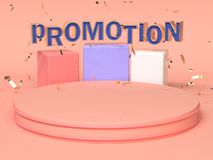 Pink red blue abstract geometric shape scene 3d rendering advertising promotion text royalty free stock photo