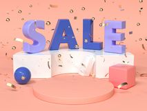 Pink red blue abstract geometric shape scene 3d rendering advertising sale text. Pink red blue abstract geometric shape scene 3d render advertising sale text vector illustration