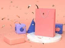 Pink red blue abstract geometric shape scene 3d rendering pink paper bag shopping advertising. Pink red blue abstract geometric shape scene 3d render pink paper royalty free illustration