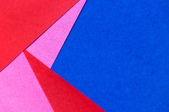 Pink, red and blue color paper display as abstract backgrond. Pink, red and blue color paper display as abstract blank background stock photos