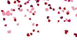 Pink and red falling hearts. stock video