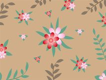Pink and red flower on brown background. vector illustration