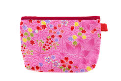 Pink red flower pocket bag with leaves and hearts Royalty Free Stock Image