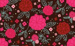 Pink and red flowers on a dark background vector illustration
