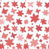 Pink red flowers seamless pattern. Pink red flowers in the form of stars seamless pattern. Cute simple background Royalty Free Stock Photo