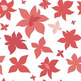 Pink red flowers seamless pattern. Pink red flowers in the form of stars seamless pattern. Cute simple background Stock Image