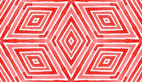 Pink red Geometric Watercolor. Delightful Seamless. Pattern. Hand Drawn Stripes. Brush Texture. Divine Chevron Ornament. Fabric Cloth Swimwear Design Wallpaper royalty free stock photography
