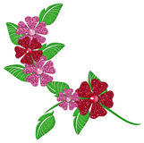 Pink & Red Glitter Flowers on Vine Stock Photography