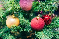 Pink, red and golden balls on Christmas tree. Close up stock images