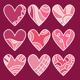 Pink and red heart collection. With different pattern Royalty Free Stock Photo