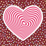 Pink red heart on dark brown background. Optical illusion of 3D three-dimensional volume. pastel colors polka dot background. Vect. Or illustration Royalty Free Stock Images