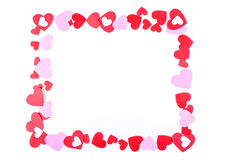 Pink and red heart frame royalty free stock image