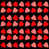 Pink Red heart Seamless Pattern. Wrapping paper, textile template. Black background. Isolated. Flat design. Royalty Free Stock Image